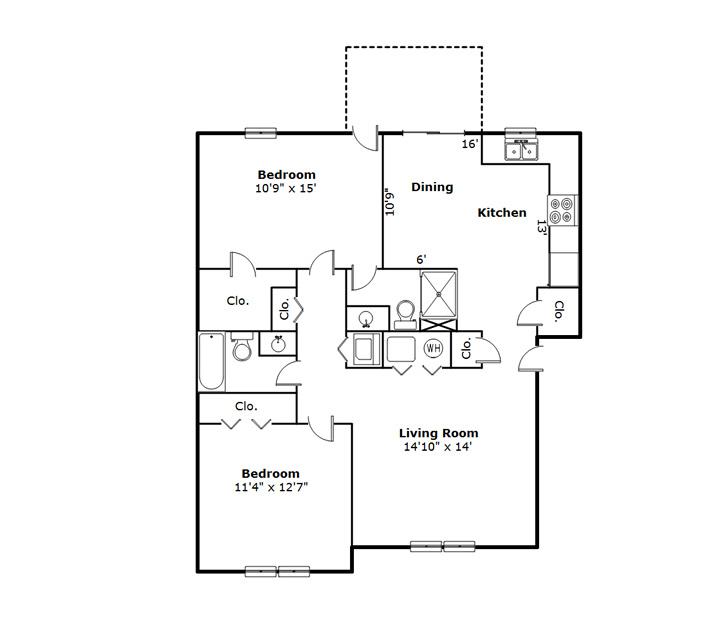 Oakridge Apartments 2-Bedroom , Peoria IL 61614